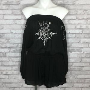 Express black off the shoulder romper, size small